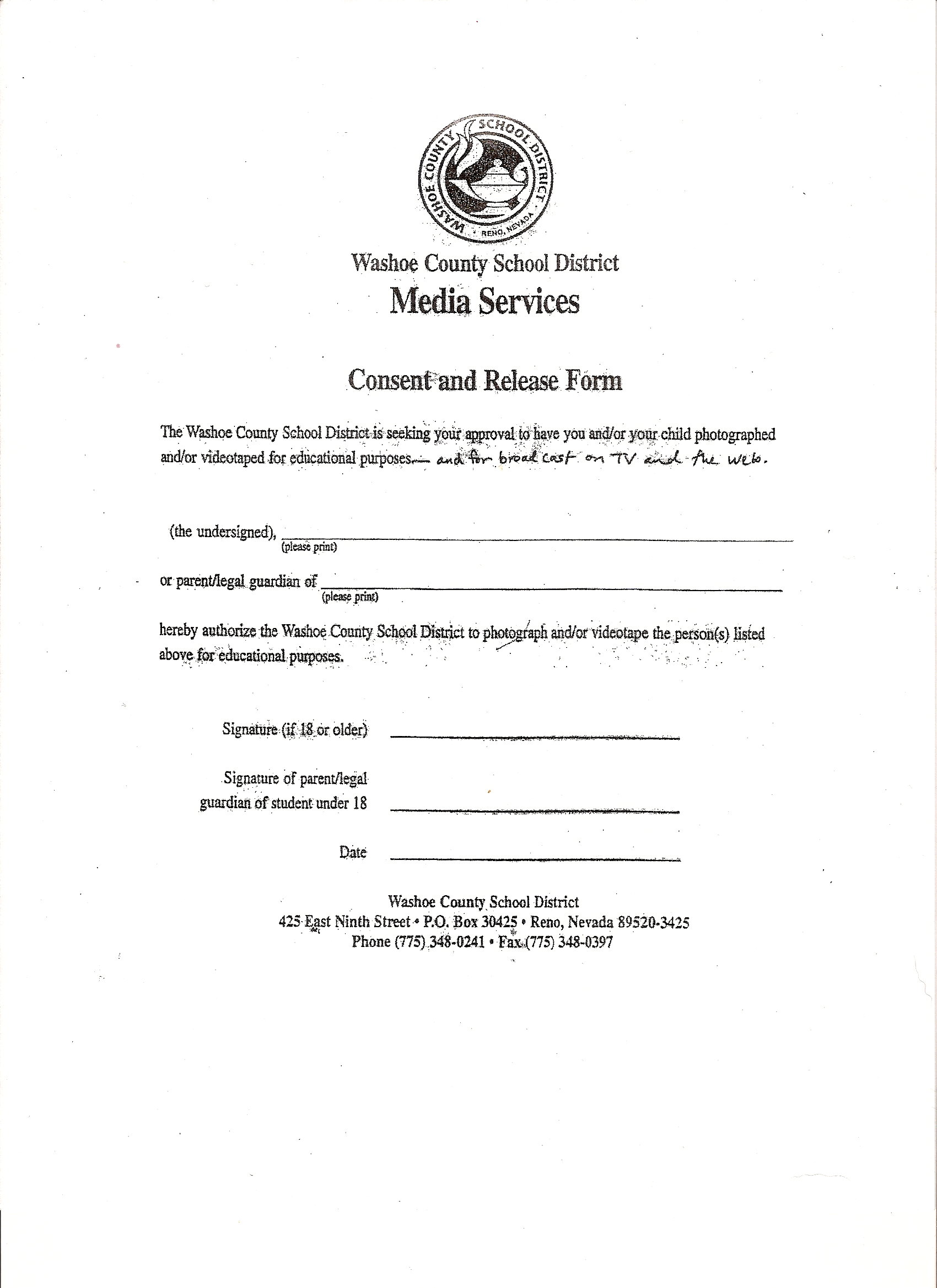 Cold Springs Middle School Band Home – Media Release Form
